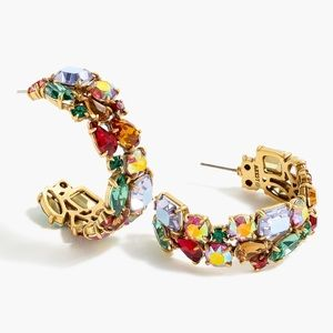 JCREW Crystal Cluster Hoop Earrings NWT Multi